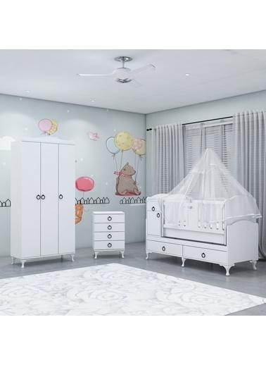 Garaj Home Garaj Home Sude Asansörlü Yıldız 3 Kapaklı Bebek Odası Takımı - Yatak Ve Uyku Seti Kombinli/ Uyku Seti Beyaz Beyaz